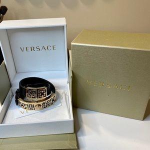 Versace double wrap leather bracelet